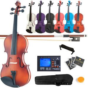 Mendini 1//2 MV-Purple Solid Wood Violin with Hard Case Rosin and Extra Strings Shoulder Rest Bow