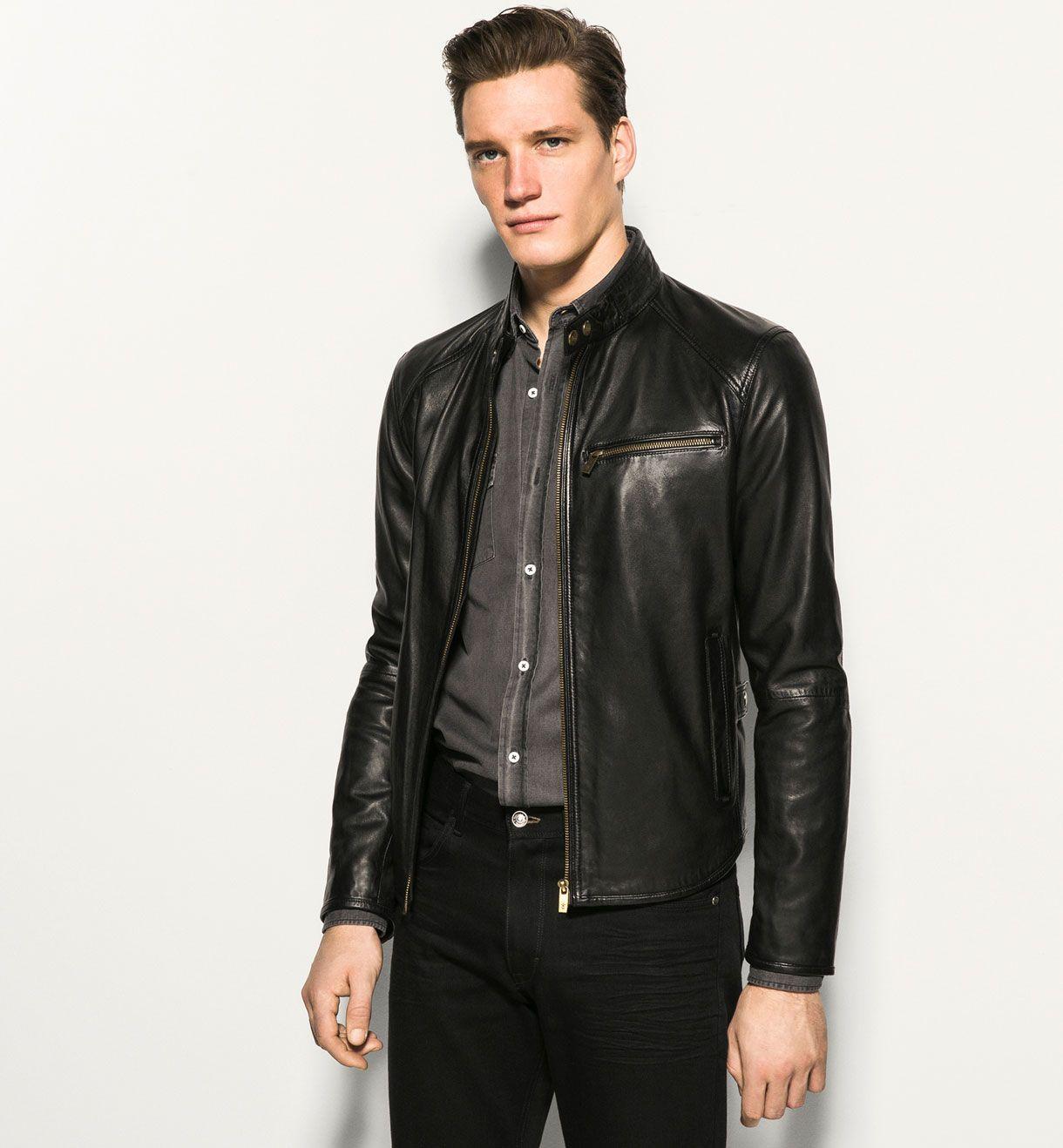 Massimo Dutti Nappa Leather Jacket w/ Mandarin Collar