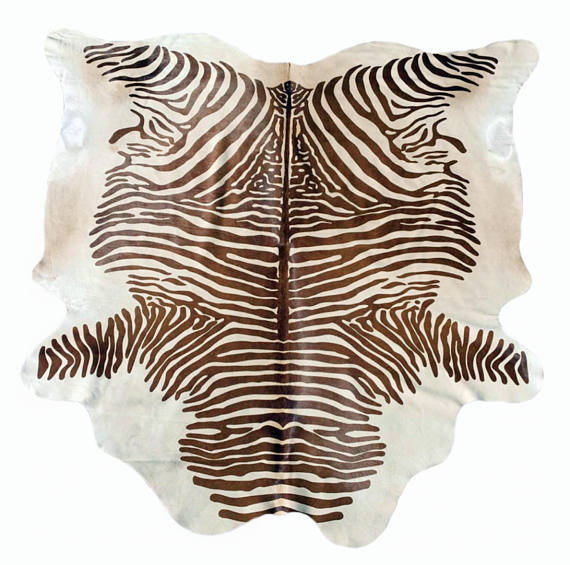 Zebra Cowhide Rug African Animal Print Leather Fur Area