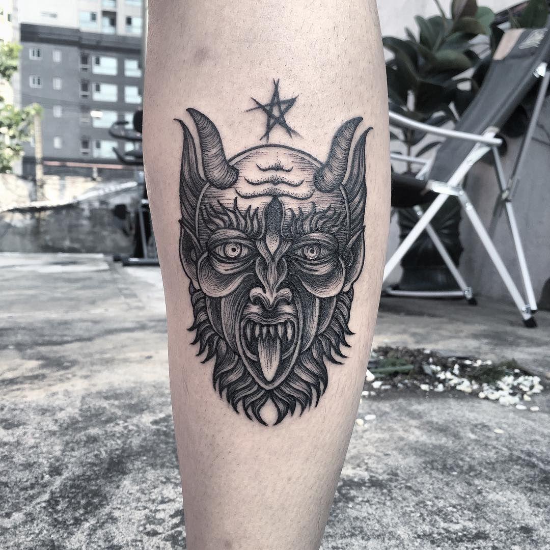 """37 Likes, 1 Comments - Tattooer Gori (@hollin_ink) on Instagram: """"Devil.😈 . . . 작업문의는 카톡 angori 또는 디엠주세요. . . .  #devil #tattoo #tattoos #tattooflash #tattoodesign…"""""""