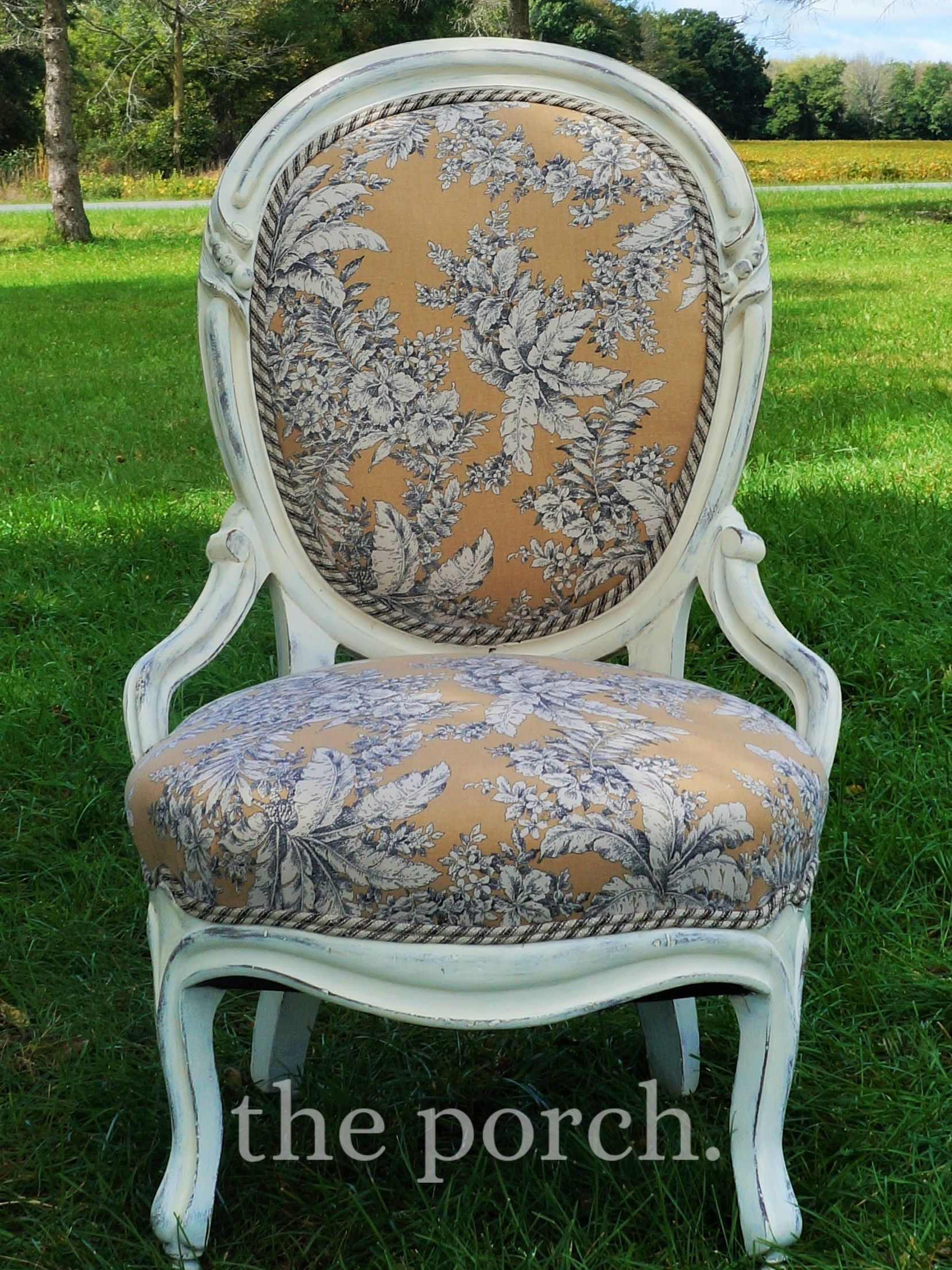 Black Oval Back Chair - Antique oval back chair with white chalk paint cream black and tan toile