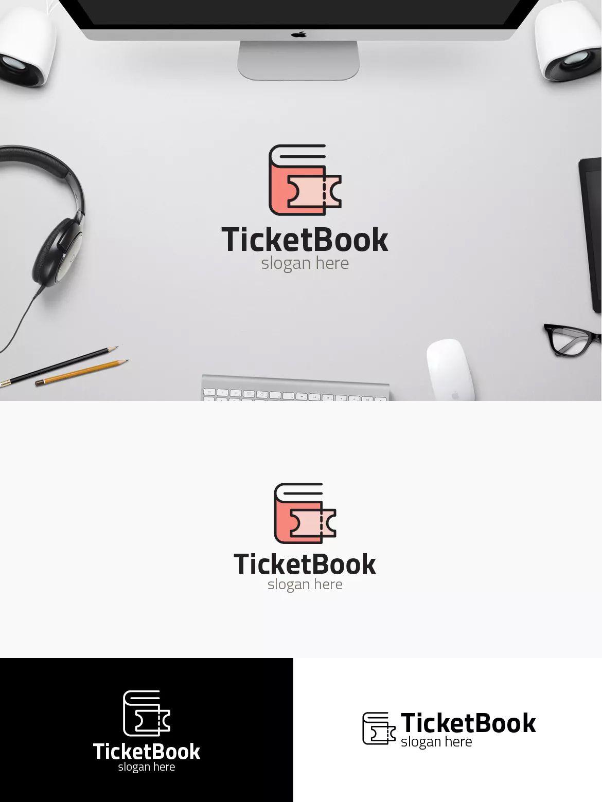 ticket book logo template ai eps logo templates pinterest