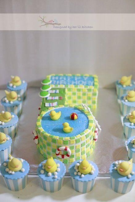 Quack Quack Swimming Pool 5th Birthday Cake Beach Pool Water