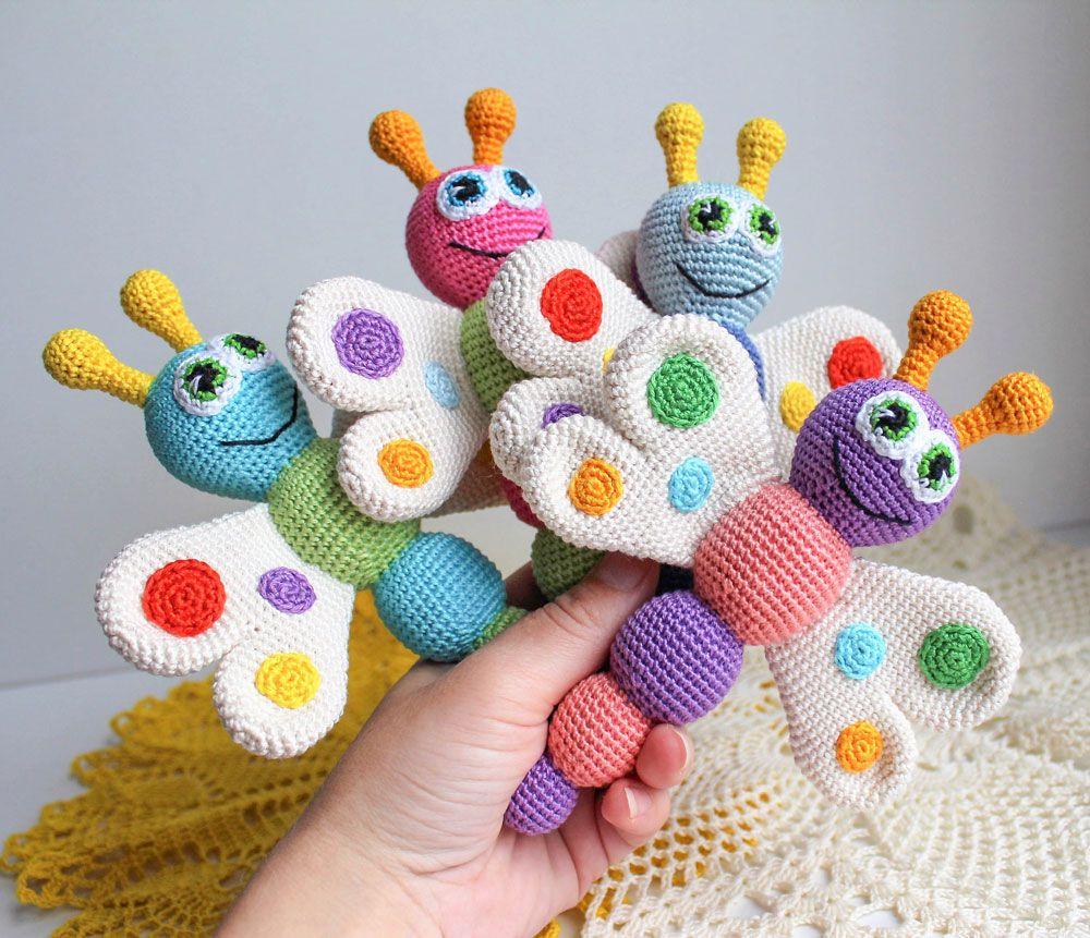 Butterfly baby rattle crochet pattern | Butterfly baby, Amigurumi ...