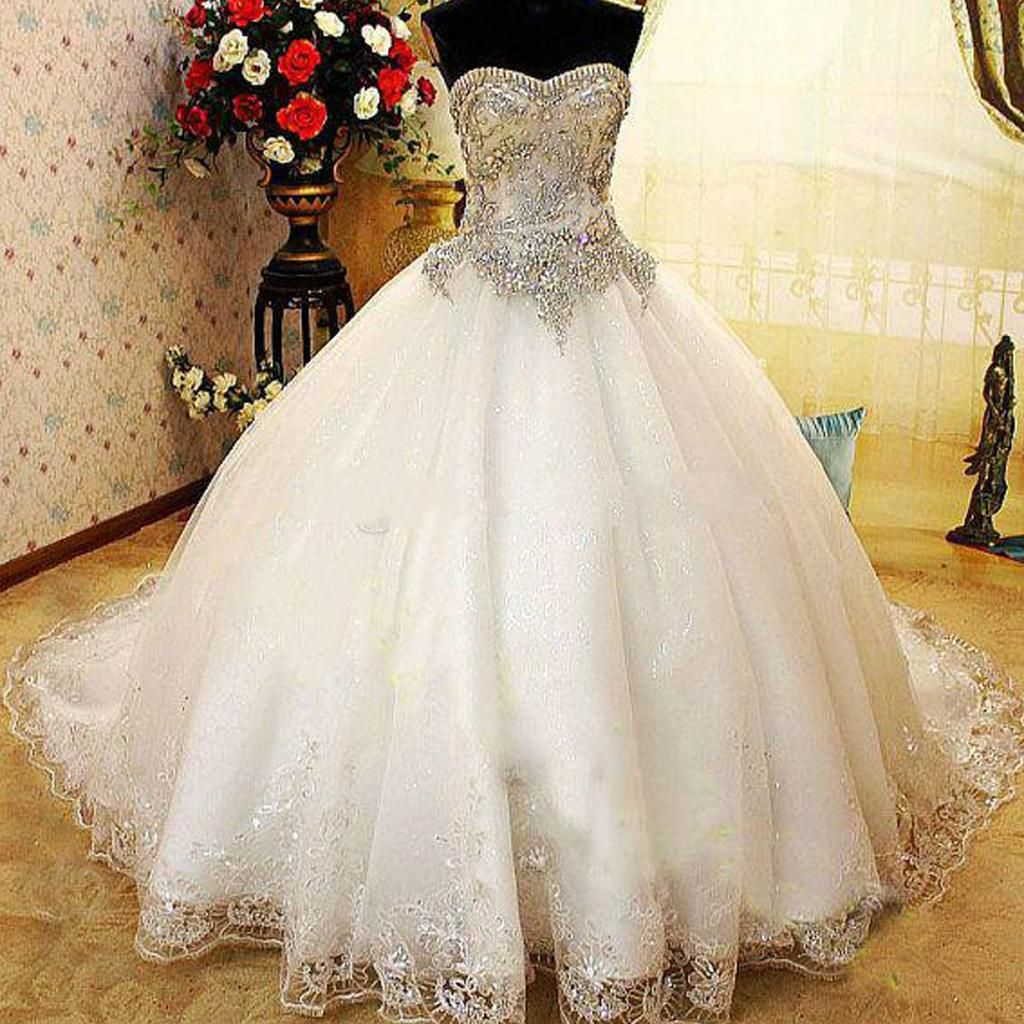 Huge Ball Gown Wedding Dresses With Bling : Luxury sweetheart ball gown wedding dresses bling crystals