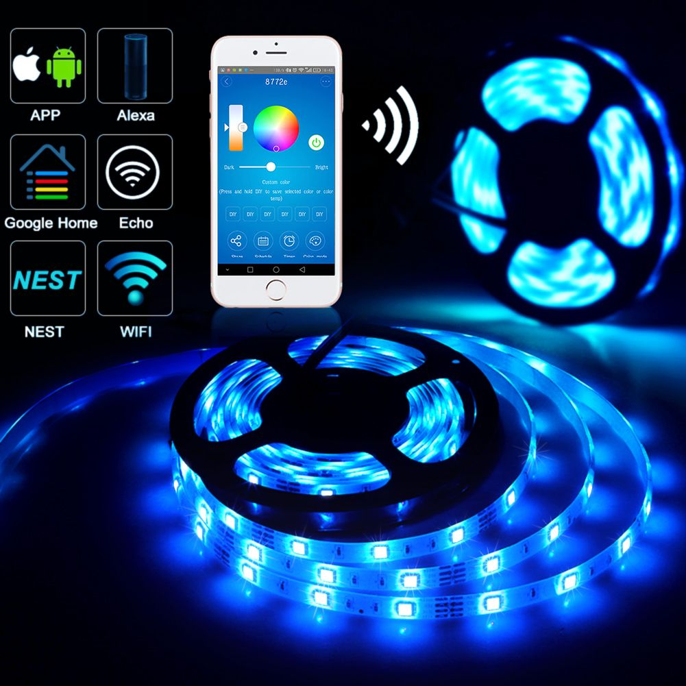 Alexa Control Led Strip Lights Outdoor Wireless Smart Phone App Controlled Light Strip Kit 16 4ft 150 Leds 5050 Wate Amazon Alexa Alexa Echo Led Strip Lighting