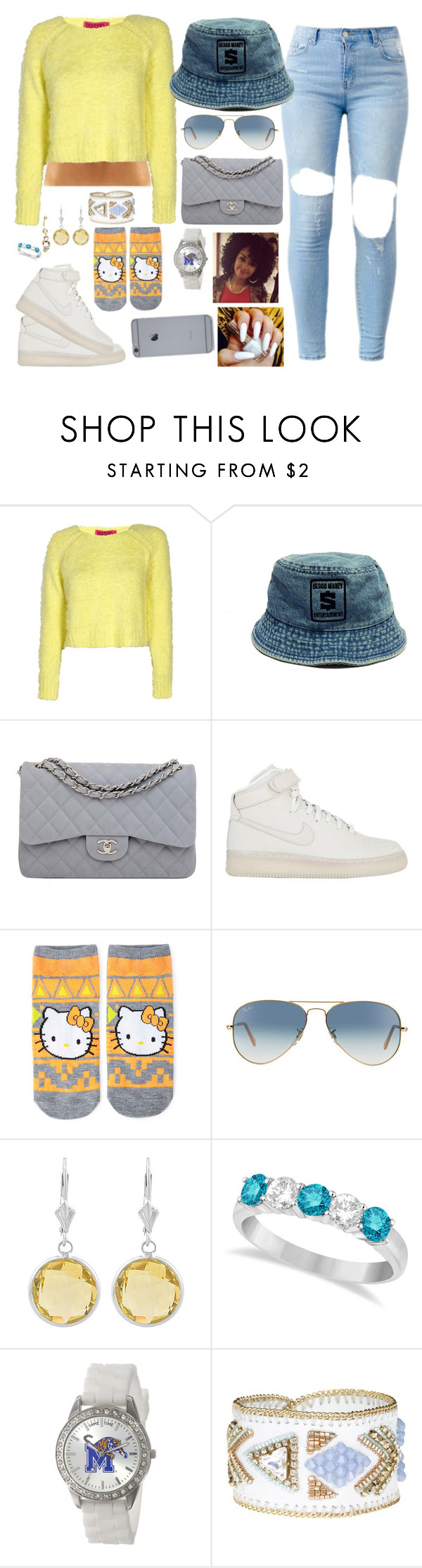 """""""Leiah is gonna be with us ! #SoHappy"""" by cissylion ❤ liked on Polyvore featuring Boohoo, Chanel, NIKE, Forever 21, Ray-Ban, Fremada, Allurez, Game Time and BUBA"""