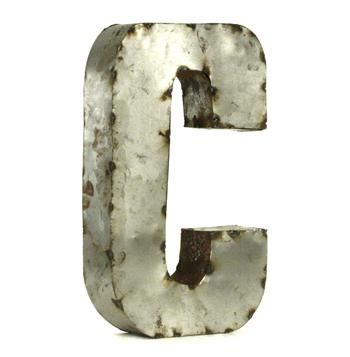 Small Rustic Metal Letters Industrial Rustic Metal Small Letter C 18 Inch  Small Letters
