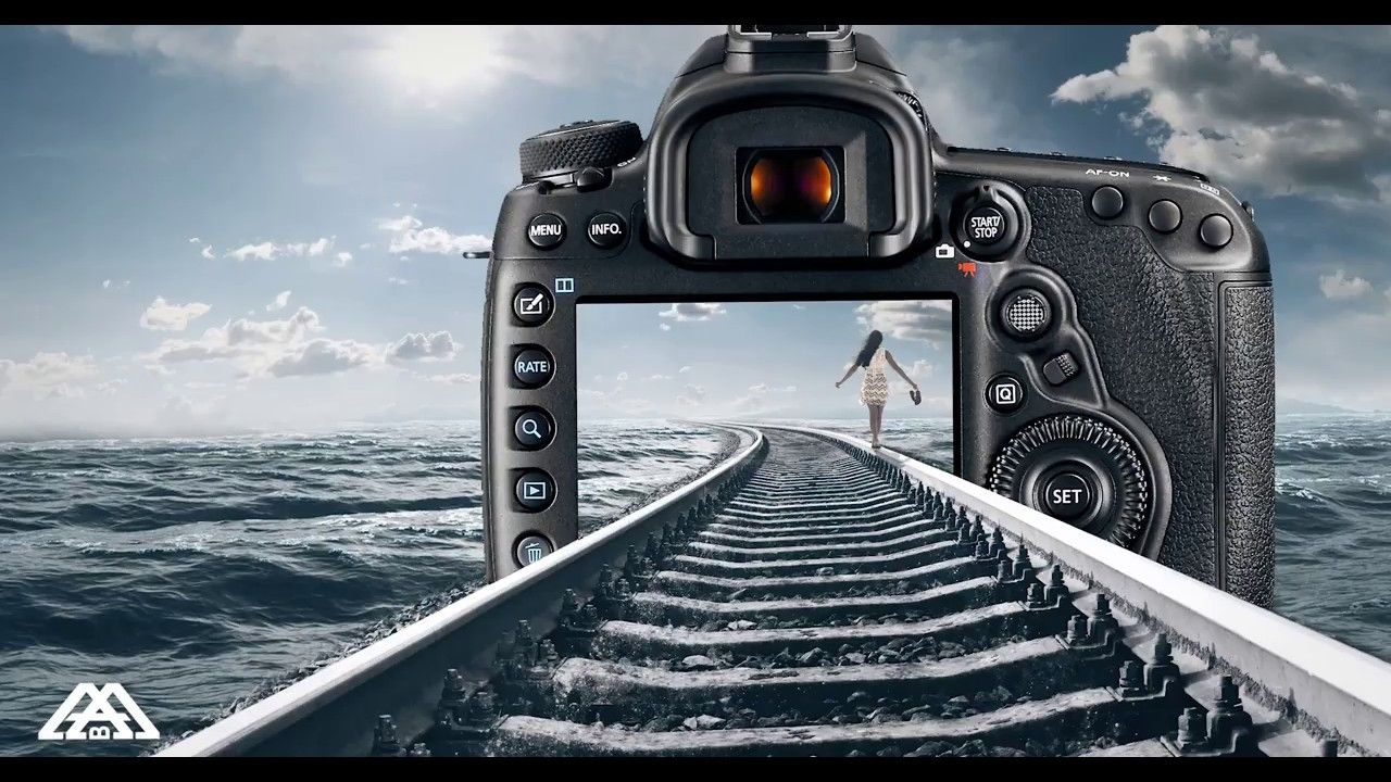 Photoshop Composition Ocean And Railway Track And Camera Photoshop Ocean Visual Design