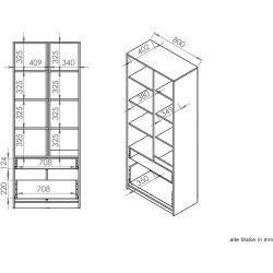 Schrank Kiefer Vollholz massiv weiß lackiert 004 – Abmessung 190 x 47 x 60 cm (H x B x T) Steinerste