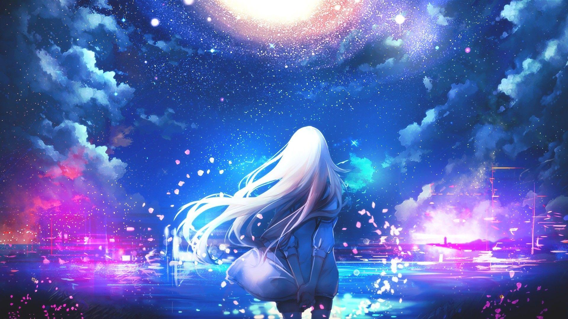 Anime, white hair, anime girls, night sky, stars, colorful
