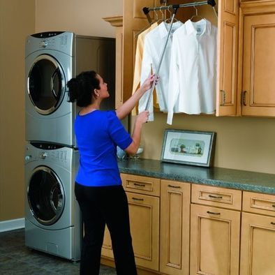 Hidden Hanging Rack For Laundry Put A Pull Out Drawer Step Below For The Height Disabled Laundry Room Design Pantry Laundry Room Closet Rod