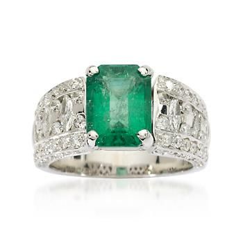 2.95 Carat Emerald Band Ring With Diamonds In 18kt White Gold. Size 7  Ross-Simmons