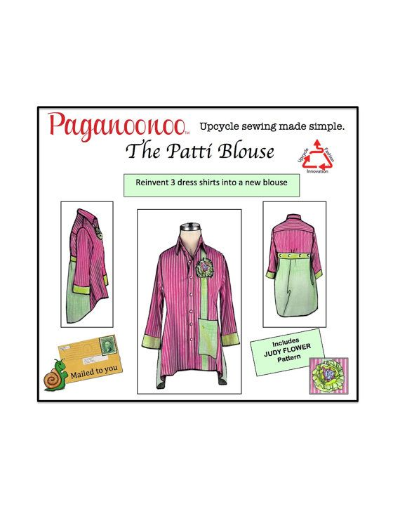 Patti Blouse Sewing Pattern & Judy Flower. Upcycle sewing Refashion ...