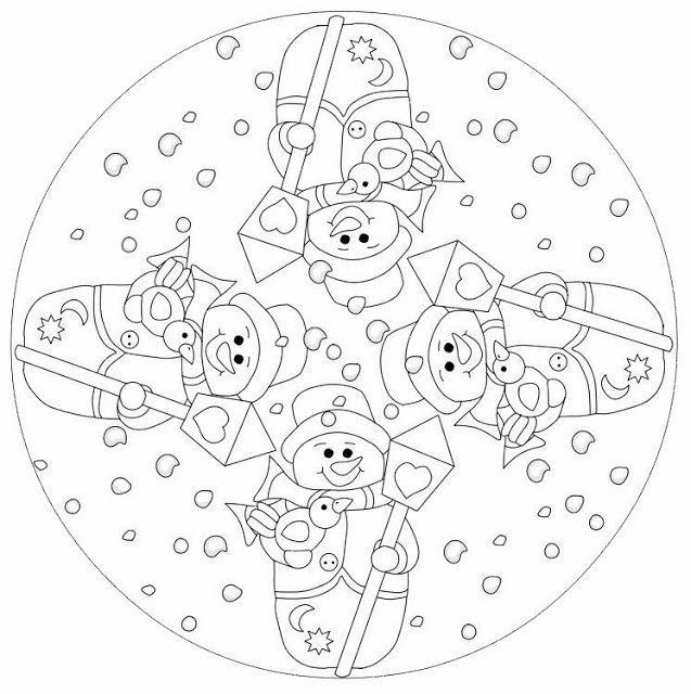 snowman mandala coloring page (2) | mandala coloring pages