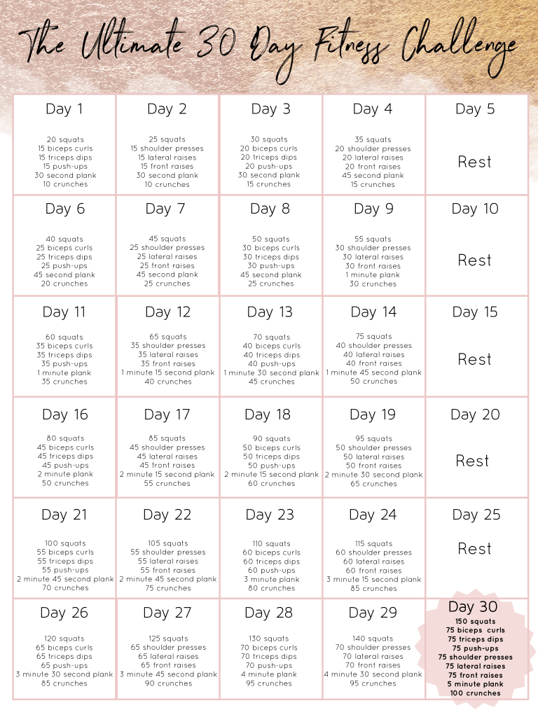 The Ultimate 30 Day Fitness Challenge In 2020 30 Day Workout Challenge Workout Challenge Total Body Workout Challenge