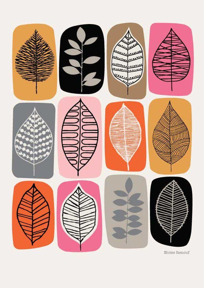 Leaf Blocks Pink Giclee Print Leaf Drawing Print Patterns Prints