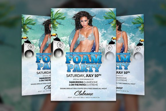 Foam Party Flyer Template by Creative Waffle on Creative Market - azure flyer template