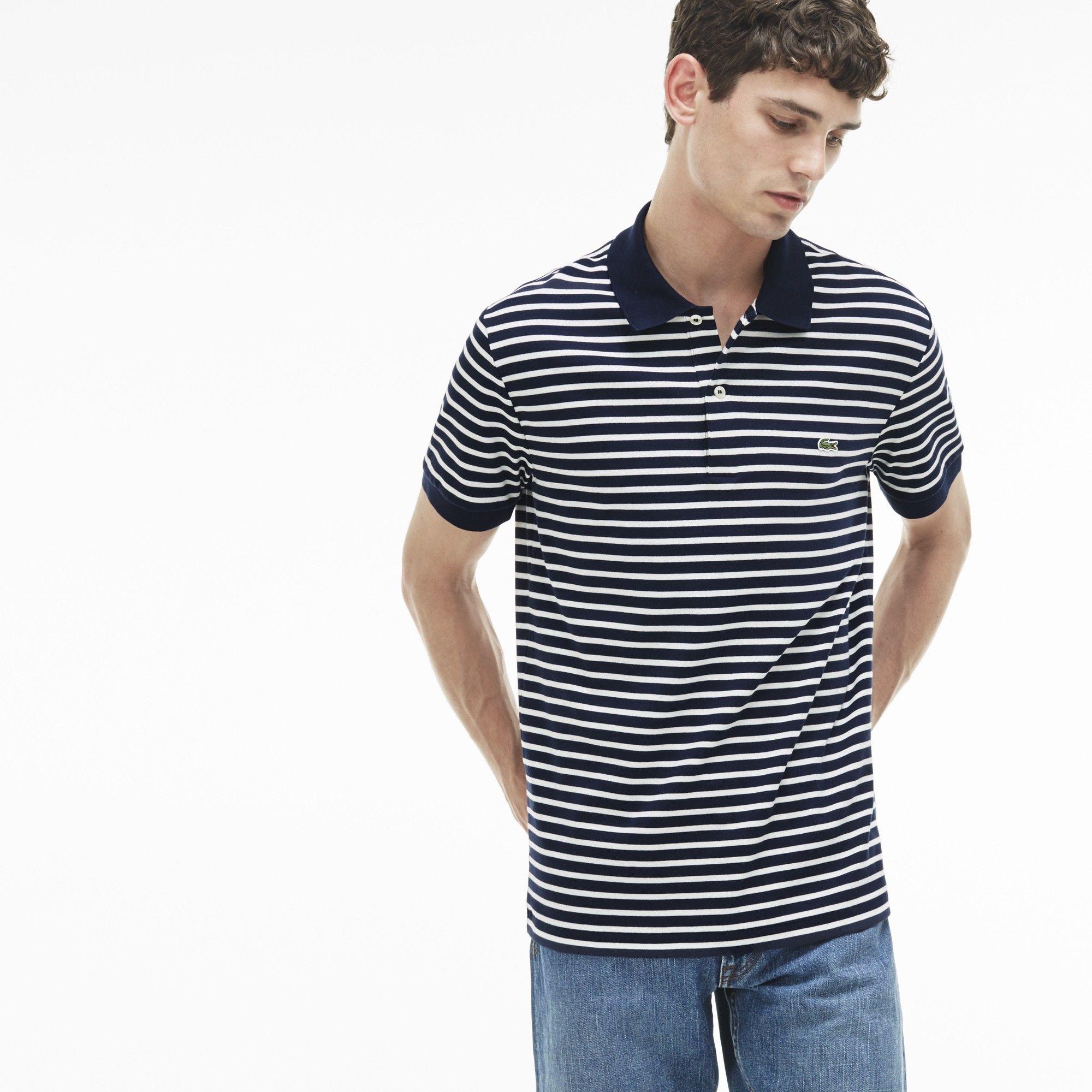 f1f7dcf6c1 LACOSTE Men's Regular Fit Striped Pima Cotton Polo - navy blue/cake ...