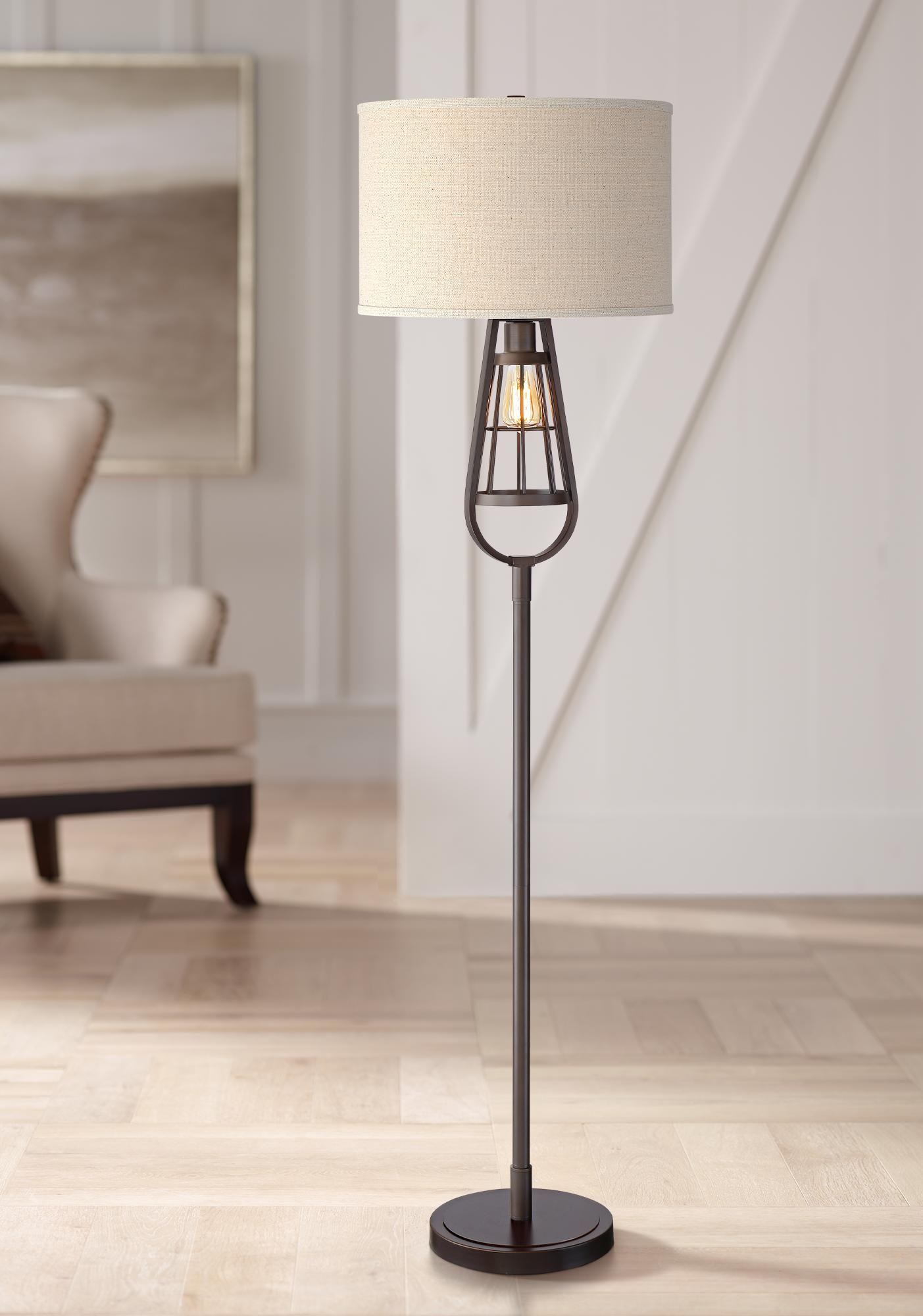 Floor Lamps Topher Oil Rubbed Bronze Open Cage Nightlight Floor Lamp Floor Lamp Lamp Industrial Floor Lamps