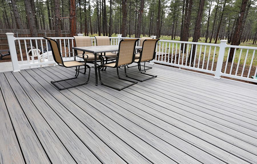 Trex Transcends Decking In Island Mist Color With Trex Select White Handrails For A Deck In Flagstaff Az Building A Deck Trex Deck Decks And Porches