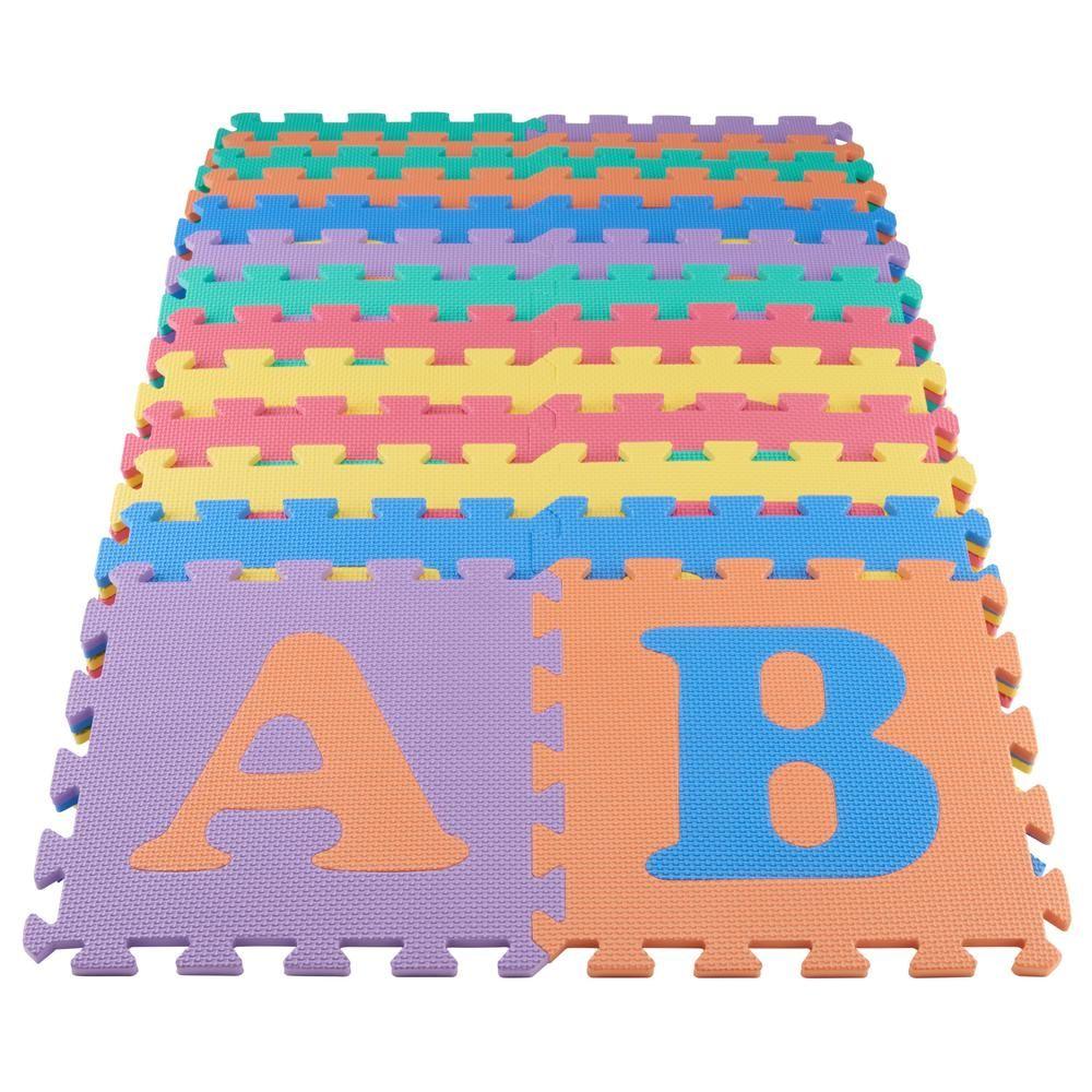 Homedepot Trafficmaster Multi Color 12 In X 12 In X 0 43 In Abc Playroom Floor 26 Pack Playroom Flooring Playroom Flooring