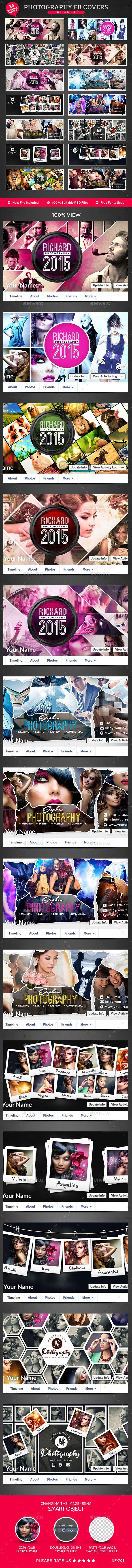 photography facebook cover bundle 14 designs template psd design