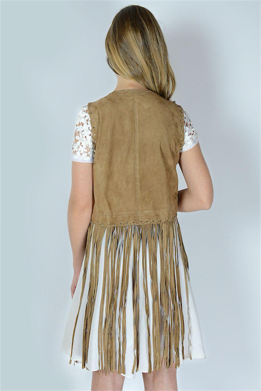 Vestito Collezione CrossChic #SS16 Designer Hanita #Coachella #Fringes #Frange #Vintage #Chic #Camoscio