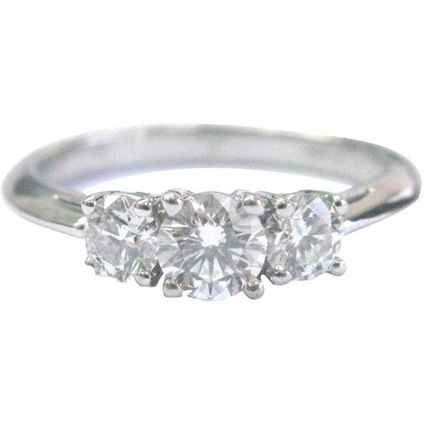 d80f0ce7e Platinum 3-Stone Diamond Engagement Ring ($3,950) ❤ liked on Polyvore  featuring jewelry, rings, platinum jewelry, platinum ring, round engagement  rings, ...