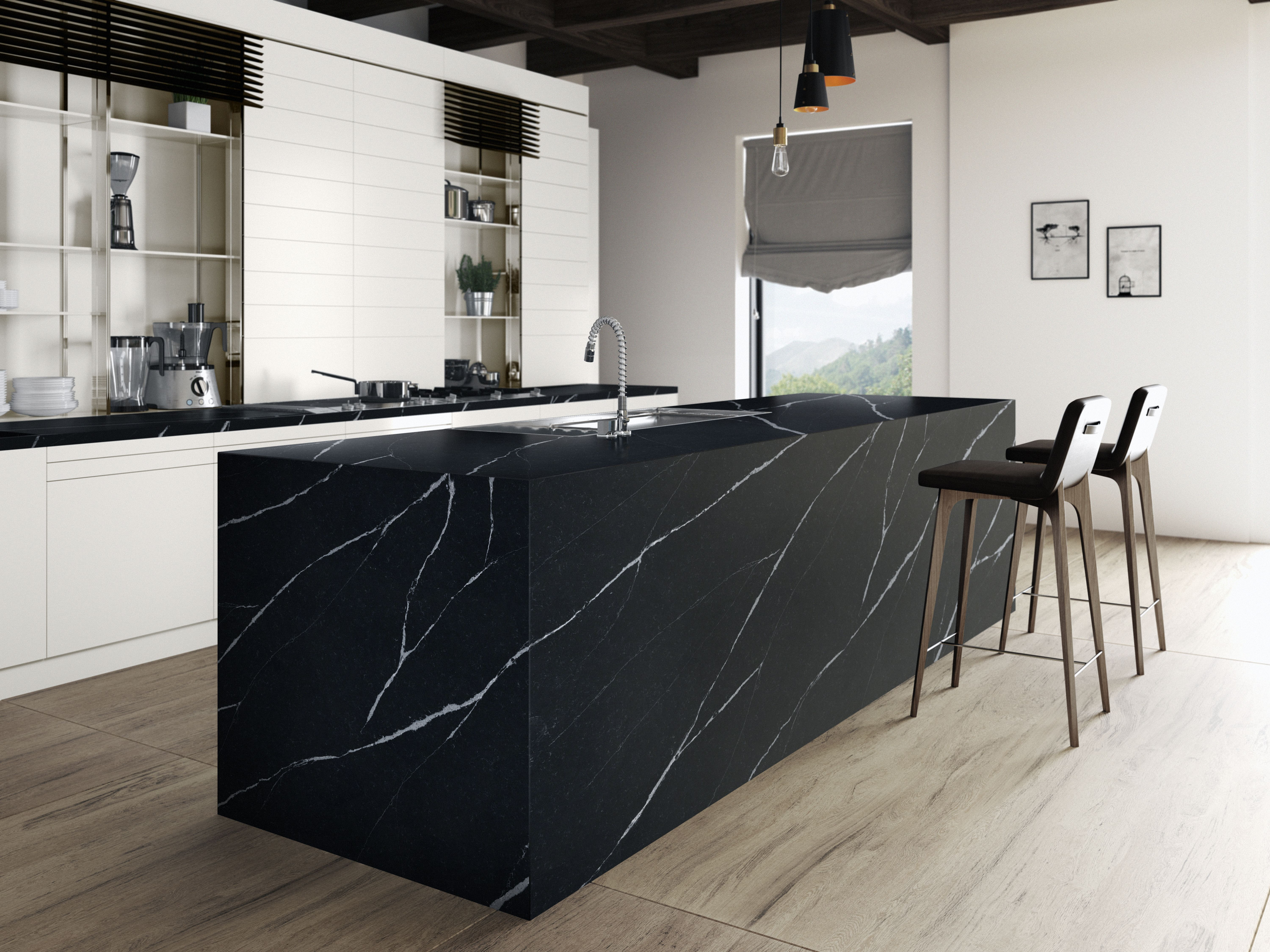 eternal marquina is a silestone quartz that is available in suede and polish finish in these pi on kitchen decor black countertop id=74797