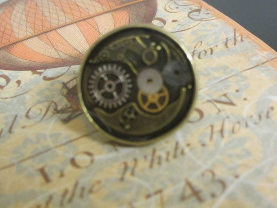 Brass Ring Steampunk with Cogs Gears and by InspiredbySteamPunk