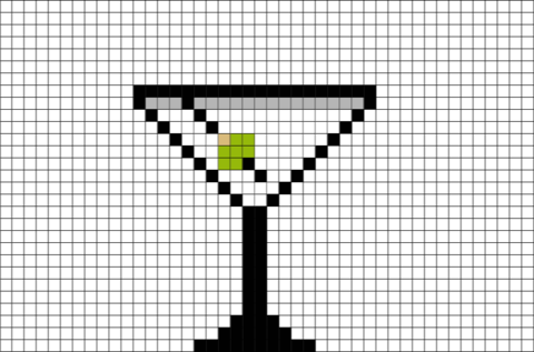 The 8bit martini is the best-known mixed alcoholic beverage. It's made with gin and vermouth, and garnished with an olive or a lemon twist.  #martini #bar #cocktail #instadrink #drinks #cheers #8bit #pixelart #pixel