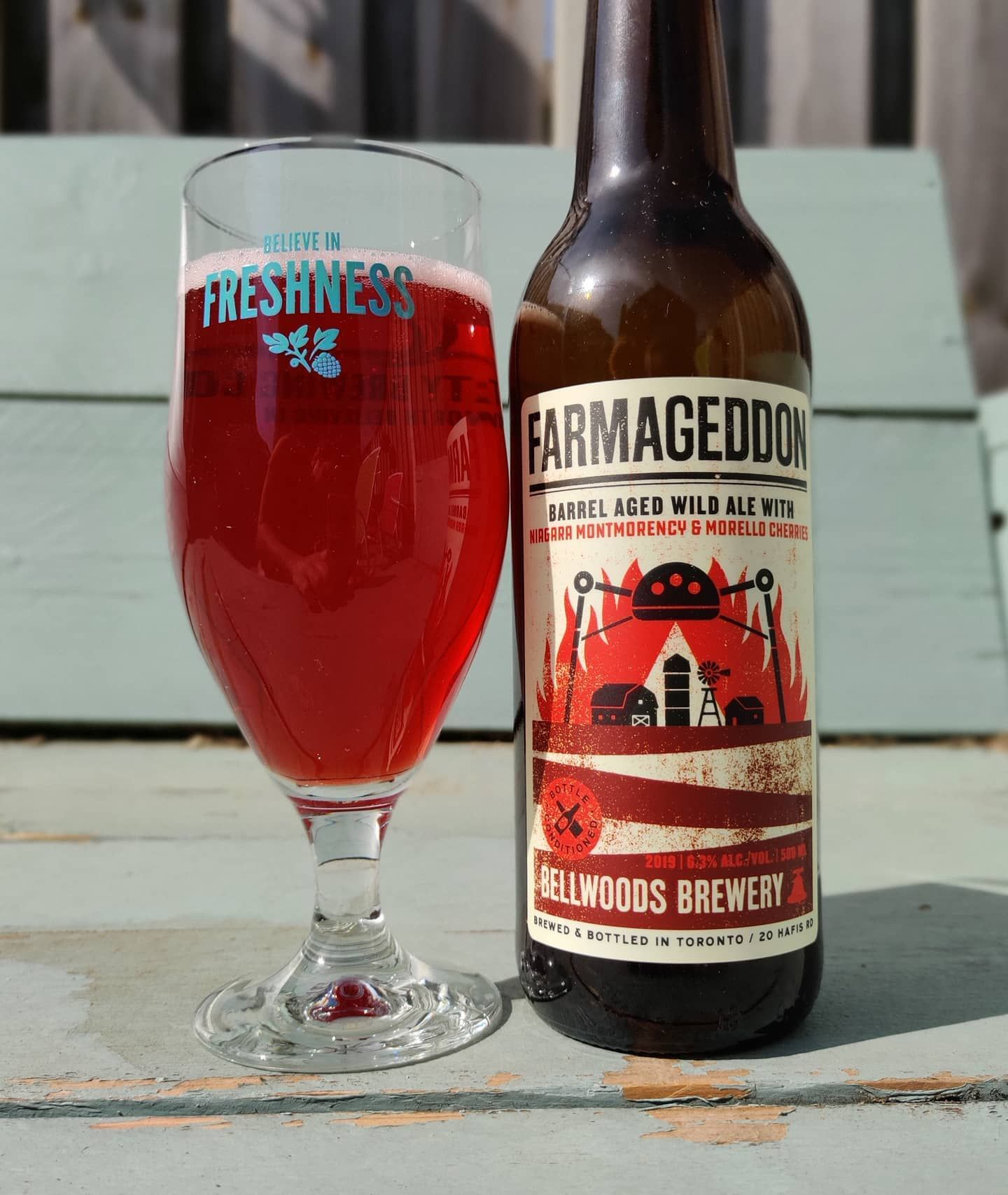 Bellwoodsbeer Farmageddon Barrel Aged Wild Ale With Niagara Montmorency Morello Cherries Little Bit Is Cherries In The Nose Together With Some Funk Good In 2020