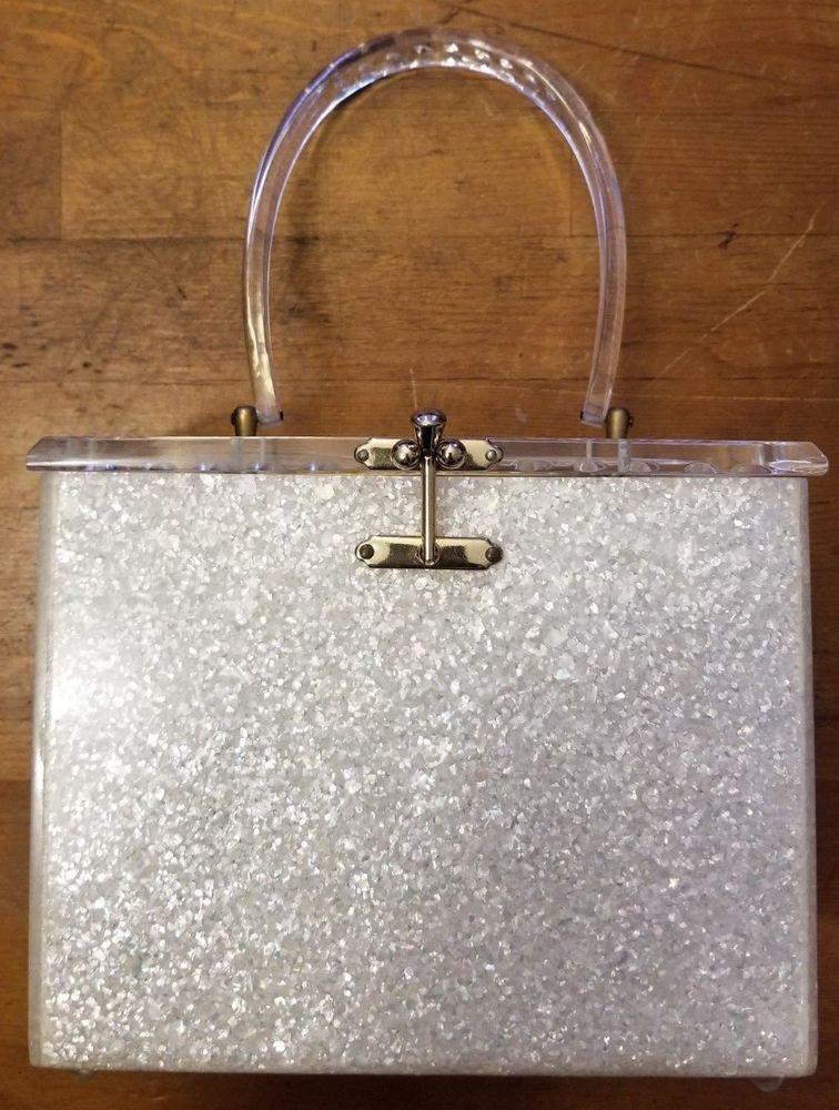 Vintage Charles S Kahn Inc Miami Fl Speckled Clear Lucite Handbag 1940s Charlesskahninc Eveningbag Everyday