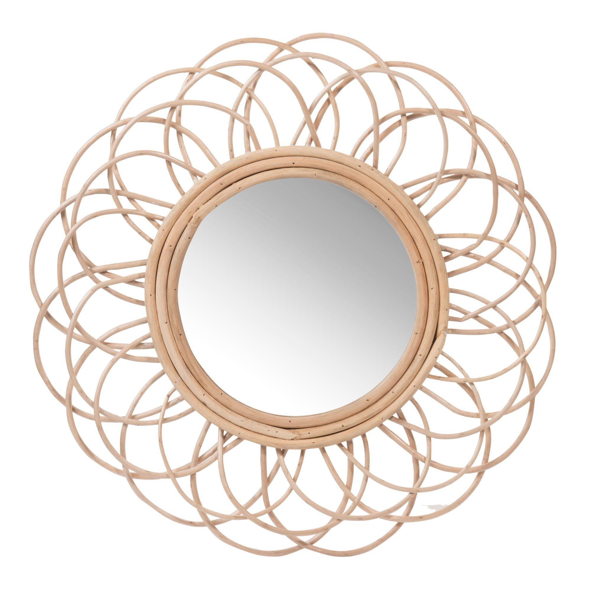miroir rond en rotin d 50 cm vintage maisons du monde. Black Bedroom Furniture Sets. Home Design Ideas