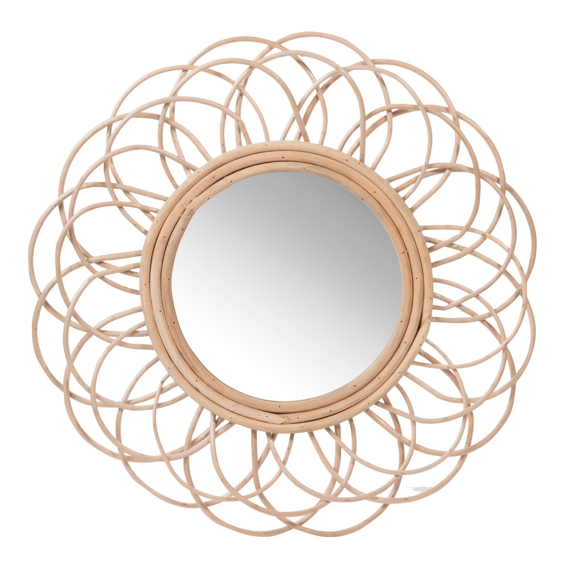 Miroir rond en rotin d 50 cm vintage maisons du monde for Miroir rond osier