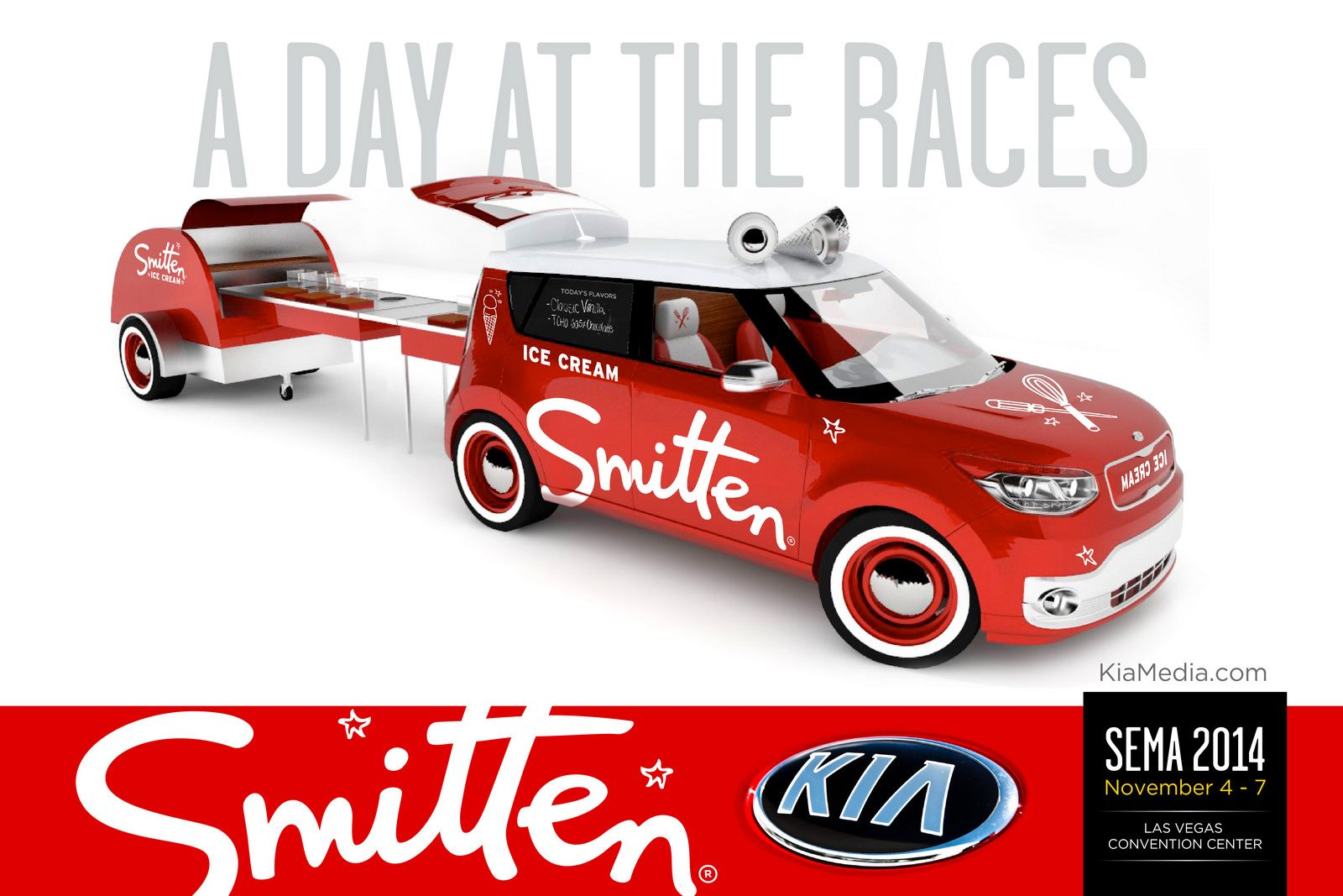 Kia Previews Sema Lineup With Smitten Ice Cream Soul Ev Carscoops Kia Food Cart Food Vans