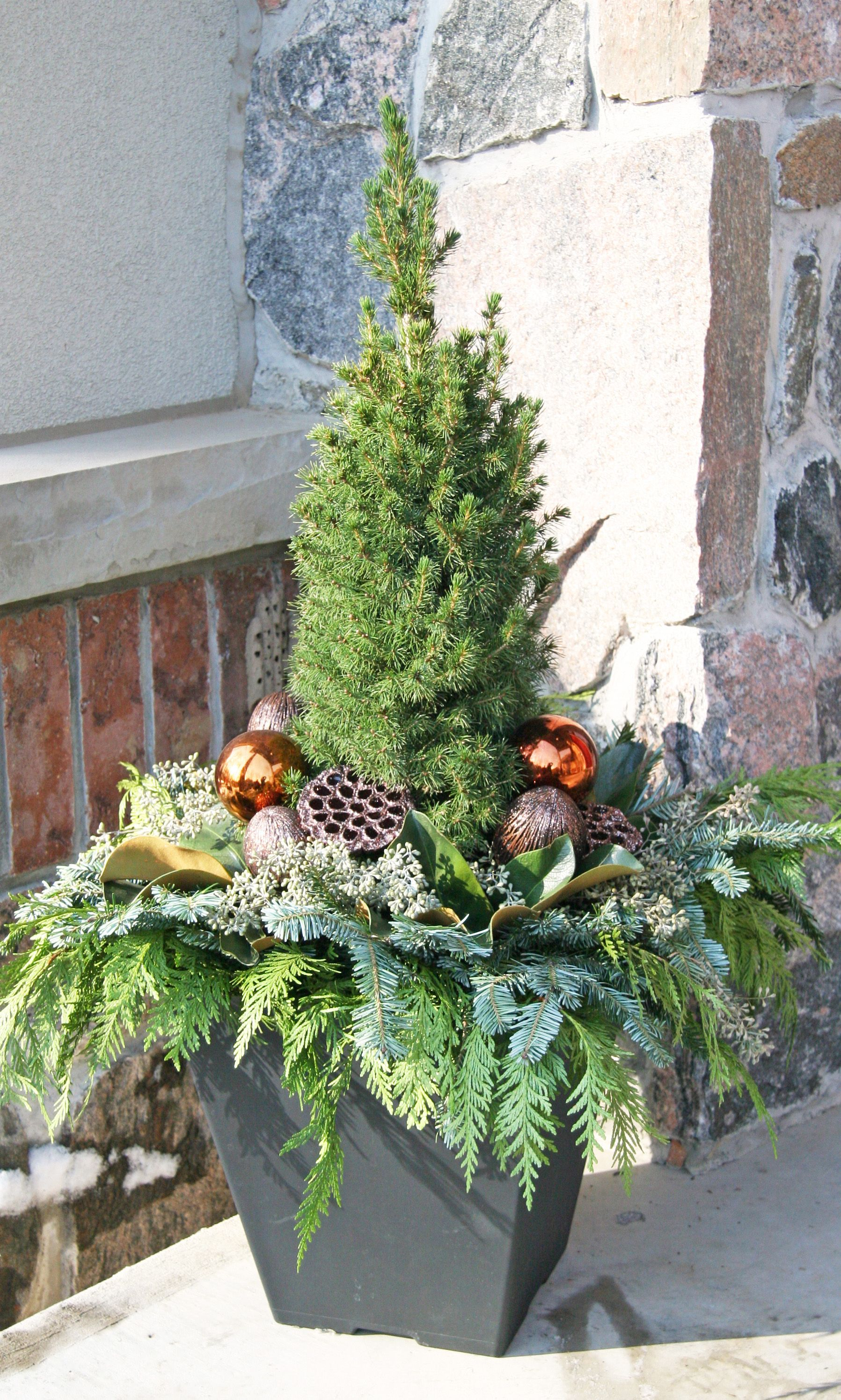 Outdoor christmas planter outdoor christmas planters for Decorating outdoor trees