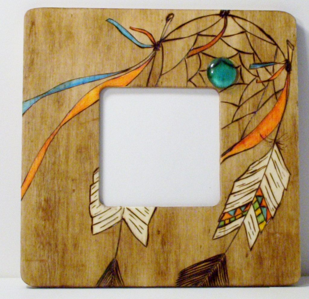 Dream catcher picture frame wood burned pyrography sealed 8\