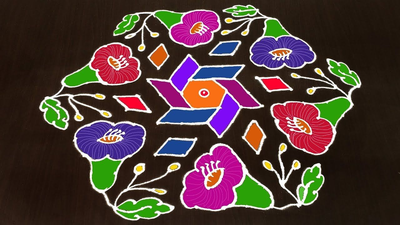 Pin By Rangoli Designs On 15 To 8 Dots Simple Rangoli Designs In