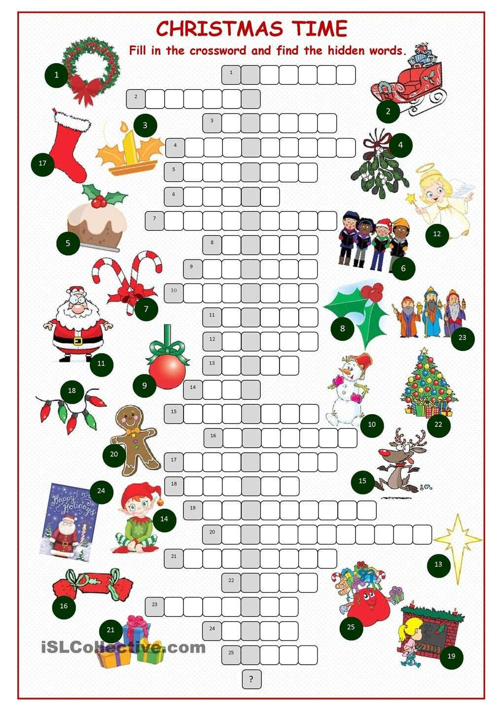 christnas time crossword puzzle enkku pinterest. Black Bedroom Furniture Sets. Home Design Ideas