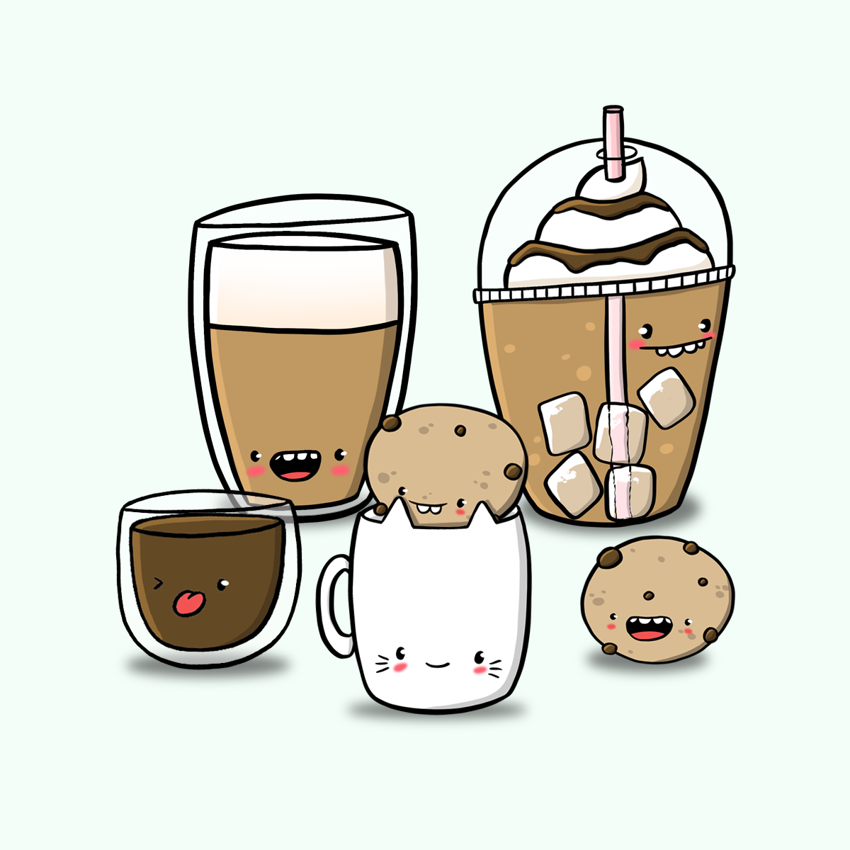 Coffee Illustration By Gladyspnut Doodle Coffee Cookies Procreate Digitalartist Kawaii Kawaii Kawaii Art Kawaii Char Coffee Doodle Cofee Art Doodles
