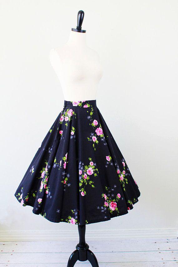 7a3f71edae8 r e s e r v e d - vintage 1950s 50s skirt circle skirt    Black and ...