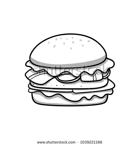 food icon hamburger black and white doodle cartoon vector illustration black and white doodle black and white food icons white doodle