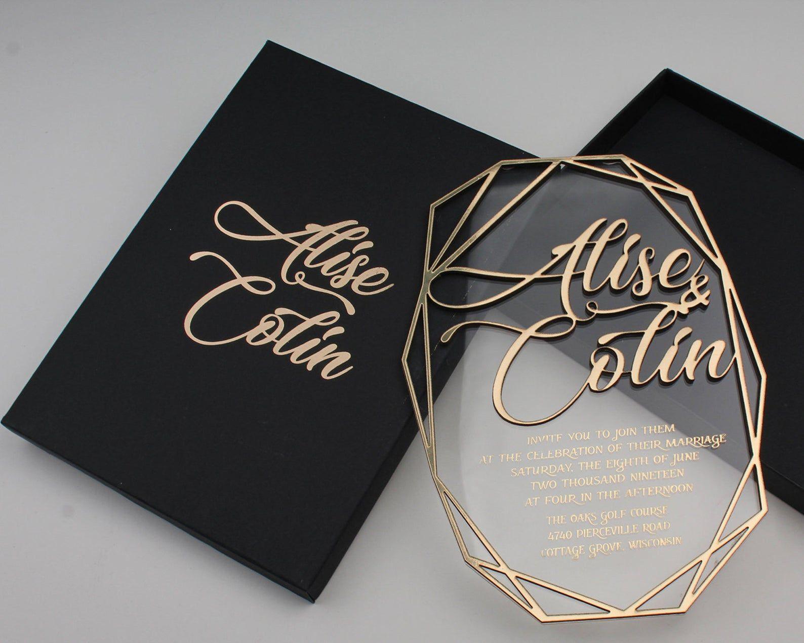 Boxed Acrylic Clear Invitation, Geometric Wedding