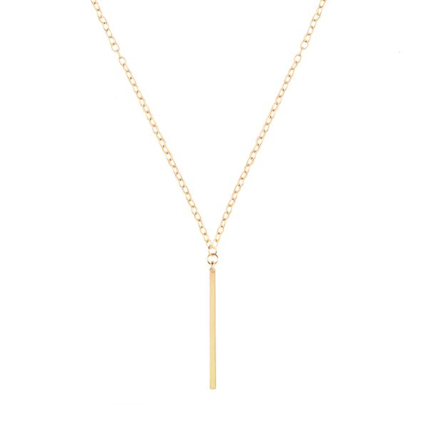 Gold Vertical Bar Necklace, Hugssy.com