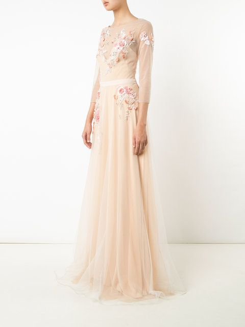 ... Marchesa Notte Blush Floral Embroidered Tulle Evening Gown ...