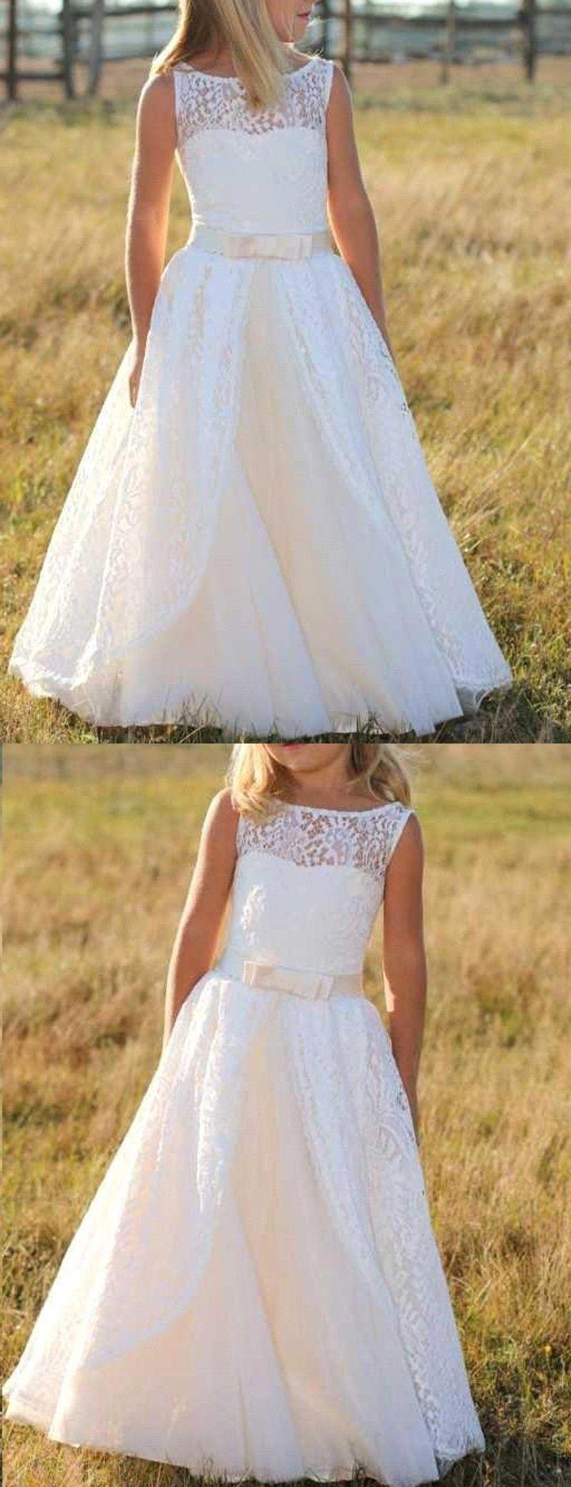 A-Linie Bodenlang Weiß Spitze Blumenmädchenkleid mit ...