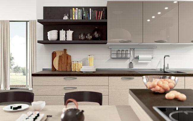 Cucina moderna su due lati con isola - Composizione 0515 - Dettaglio ...