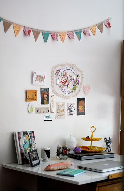 wall art for office space. office space in a dorm room with cute bunting and even cuter wall art for p